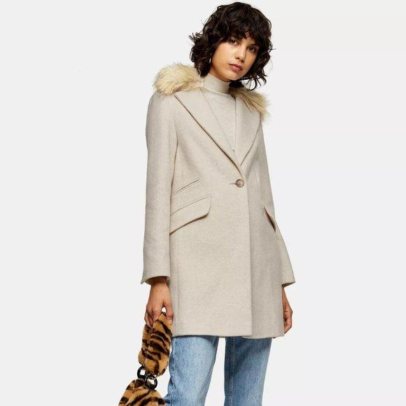 Topshop Jackets & Coats | Topshop Womens Coat Oatmeal